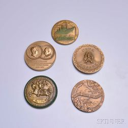 Five Mostly Medallic Art Co. Bronze Medals