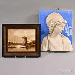 Della Robbia-style Ceramic Hanging Wall Plaque and Framed Dutch Ceramic Landscape Plaque