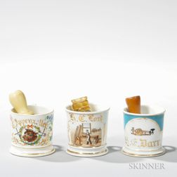 Three Porcelain Occupational Shaving Mugs with Brushes