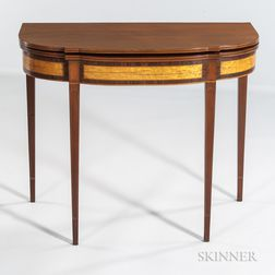 Mahogany and Mahogany and Bird's-eye Maple Veneer Inlaid Card Table