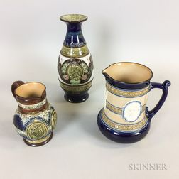 Three Doulton Commemorative Stoneware Items