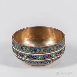 Russian .875 Silver-gilt and Cloisonne Enamel Bowl