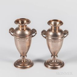 Two Russian .875 Silver Bud Vases