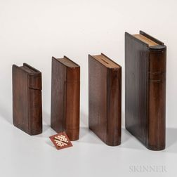 Four Wooden Book-form Banks