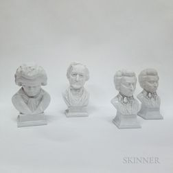 Four Herend Porcelain Busts of Composers