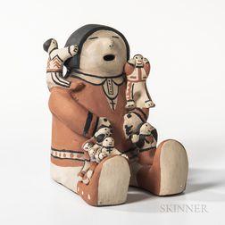Cochiti Polychrome Pottery Storyteller Figure