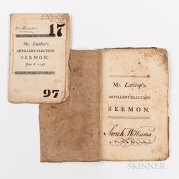 Two 18th Century Ancient and Honorable Artillery Company Sermons.
