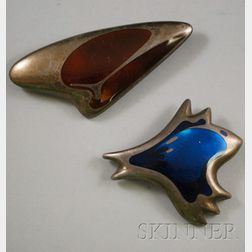 Two Vintage Henning Koppel for Georg Jensen Enamel and Sterling Silver Abstract   Brooches