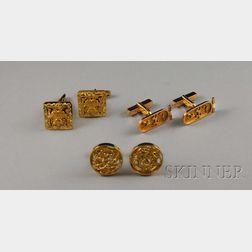 Three Pairs of 18kt Gold Cuff Links