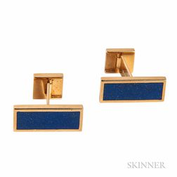 18kt Gold and Lapis Cuff Links