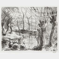 Camille Pissarro (French, 1830-1903)      Gardeuse d'oies