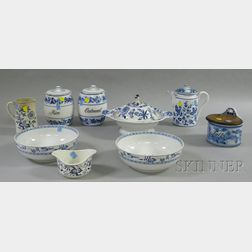 Nine Assorted Blue Onion Type Pattern Ceramic Tableware and Kitchenware