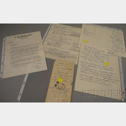 1955 Duke Ellington Handwritten Spiritual Lyric-related Notes and a Typed Correspondence From Doris Asbury, St. Paul Methodist Churc...