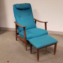 Folke Ohlsson Danish Modern Lounge Chair and Ottoman