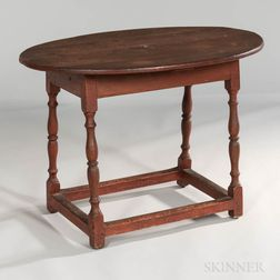 Salmon Red-painted Oval-top Tea Table