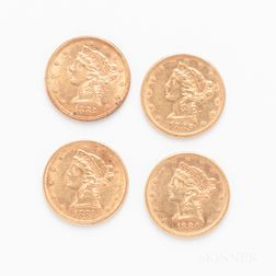 Four $5 Liberty Head Gold Coins