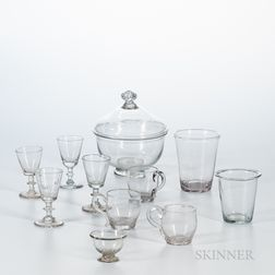 Eleven Early Blown Colorless Glass Table Items