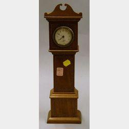 Inlaid Mahogany Miniature Grandfather Clock