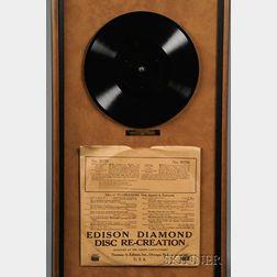 Edison Diamond Disc Presentation Record