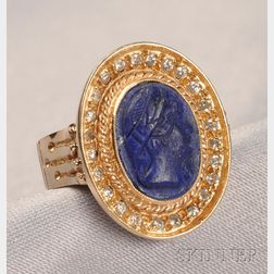 14kt Gold, Lapis Cameo, and Diamond Ring