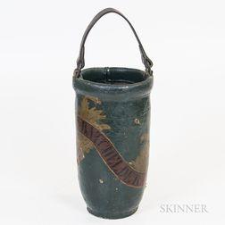 """L. Batchelder"" Painted Leather Fire Bucket"