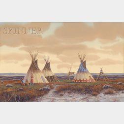 Paul Surber (American, b. 1942)      Indian Encampment