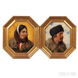 Emil Radomsky (European, 1878-1932)    Two Portrait Heads in Octagonal Frames: Man in a Fur Hat