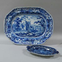 Two Staffordshire Blue Transfer-decorated Platters
