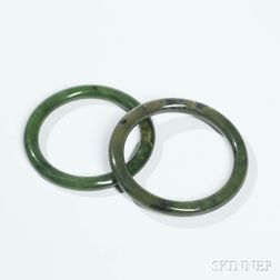 Two Spinach Jade Bangles