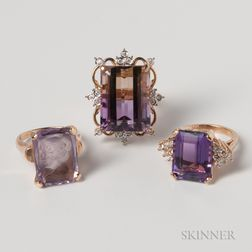 Three 14kt Gold and Amethyst Cocktail Rings