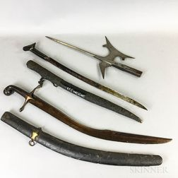 Two Middle Eastern Steel Swords and a Halberd Head.     Estimate $75-150