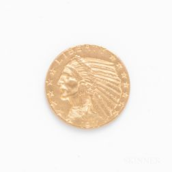 1911 $5 Indian Head Gold Coin.     Estimate $200-400