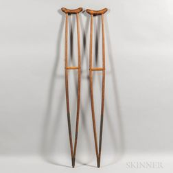 Pair of Make-do Wood and Tin Crutches