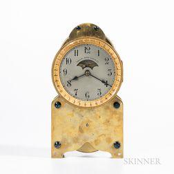Annual Wind Clock Co. Lacquered Brass Shelf Clock
