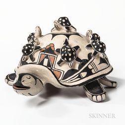 Cochiti Polychrome Pottery Storyteller Turtle