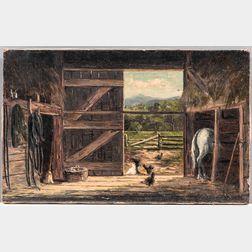 Frank Shapleigh (New Hampshire/Massachusetts, 1842-1906)      Old Barn In Jackson N.H.
