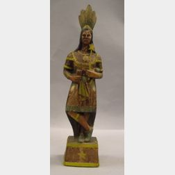 Polychrome Painted Composition Tobacconist's Indian Princess Counter Figure