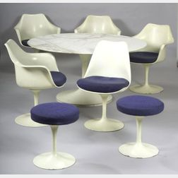 Eero Saarinen Tulip Table, Two Stools, and Five Chairs