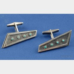 Sterling Silver and Turquoise Cuff Links, Peter Macchiarini