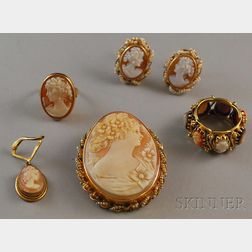 Small Group of Gold and Cameo Jewelry