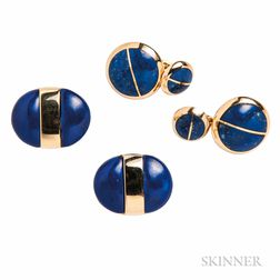 Two Pairs of 18kt Gold and Sodalite Cuff Links