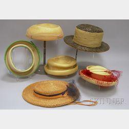 Six Vintage Straw Hats