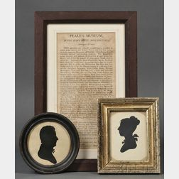 Two Peale's Museum Silhouettes and a Framed Peale's Museum Broadside
