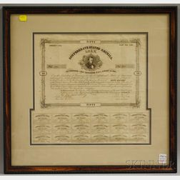 Framed 1863 Confederate States of America Fifty Dollar Loan Bond.