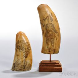 Two Scrimshaw-decorated Whale's Teeth