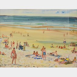 Charles Demetropoulos (American, 1912-1976)      Figures on a Sunny Beach