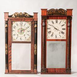 Two Connecticut Stencil-decorated Split-baluster Shelf Clocks