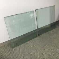 Two Heavy Beveled Edge Glass Table Tops