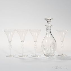 Four Lalique Hagueneau or Tosca Wineglasses and Baccarat Decanter