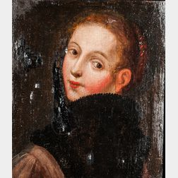 Dutch School, 17th Century      Head of a Young Woman Glancing Over Her Left Shoulder